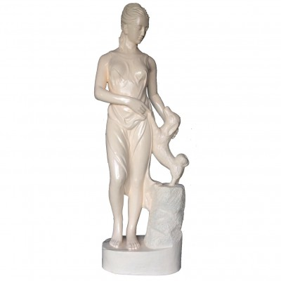 FIBERGLASS GODDESS STATUE WITH DOG
