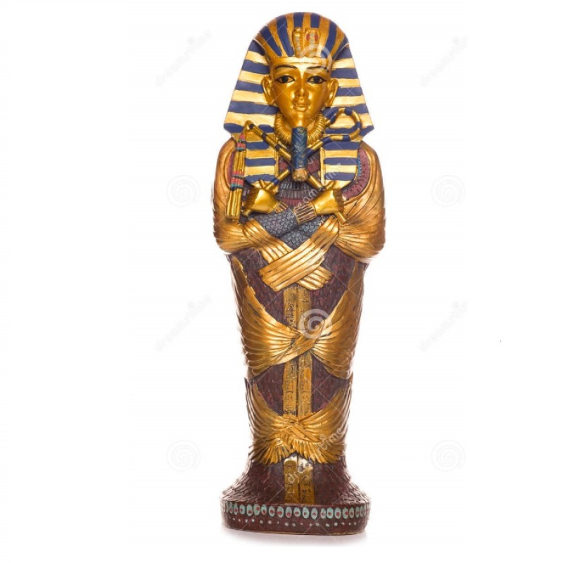 FIBERGLASS EGYPTIAN MUMMY SARCOPHAGUS STATUE