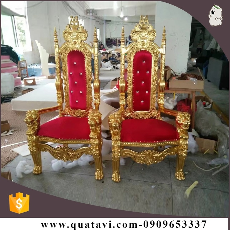 Simple Design Regal Antique King Throne Chair by fiberglass, Chaise King Queen, Fiberglass Shell Chair, Fiberglass Antique Chairs.