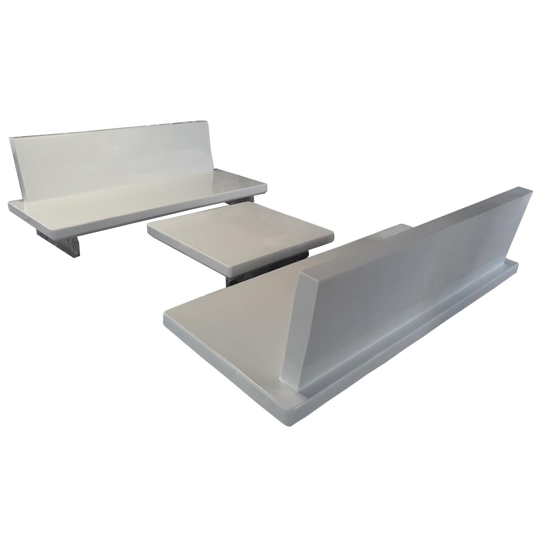FIBERGLASS SOFA CHAIRS AND TABLE